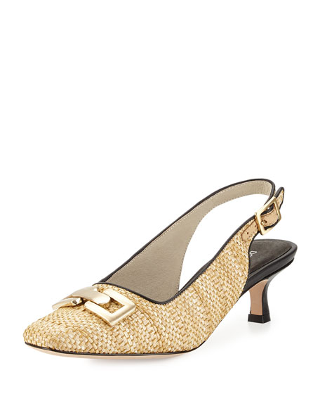 Donald J Pliner Selma Woven Raffia Pump, Natural