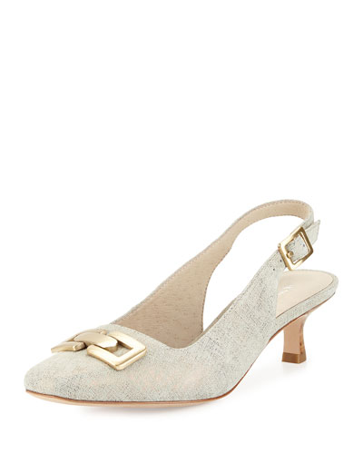 Selma Metallic Slingback Pump, Pewter