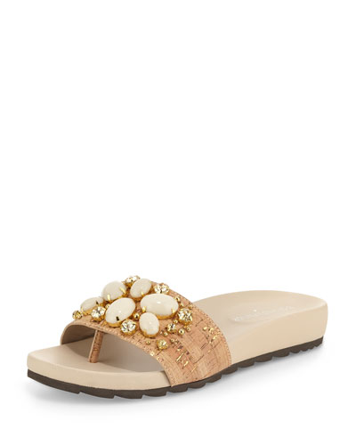 Trena Ornament Sandal Slide, Cork
