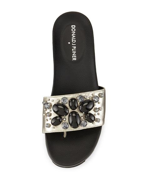 Trena Metallic Ornament Sandal Slide, Pewter