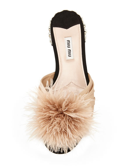 Feather Pom-Pom Sandal, Natural