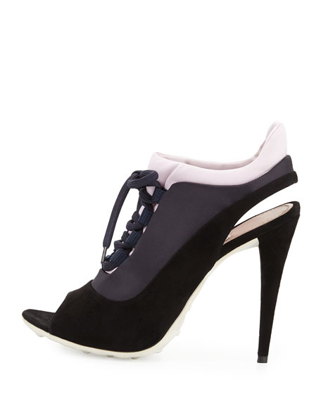 Lace-Up Colorblock Pump, Black/Blue