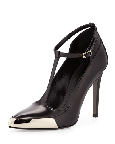 T-Strap Leather Pump, Black
