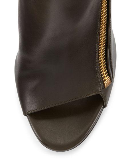 Open-Toe Zip-Front Leather Bootie, Musk