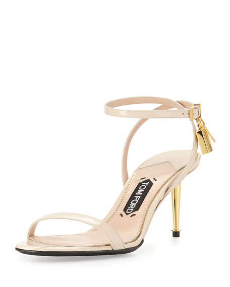 TOM FORD Patent Low-Heel Ankle Lock Sandal, Nude