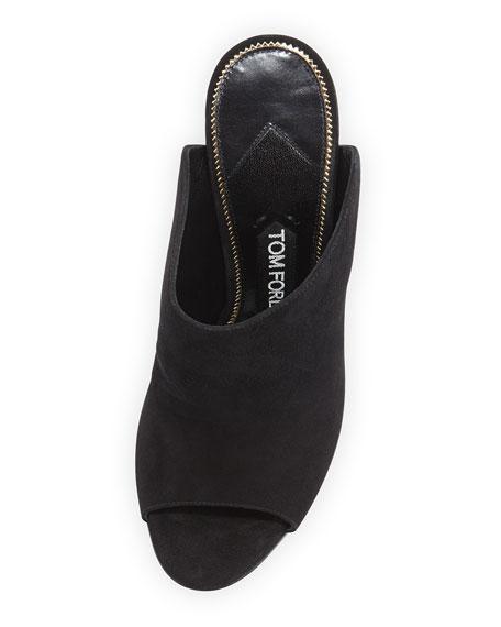 Leather Open-Toe Mule Pump, Black/Gold