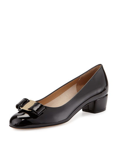 Vara Bow Patent-Leather Pump, Nero