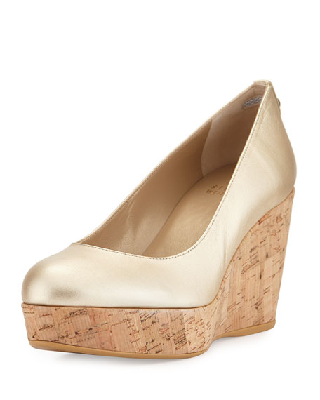 Stuart Weitzman Logoyork Metallic Leather Wedge Pump, Cava