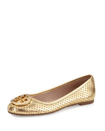 Reva Metallic Perforated Flat, Golden
