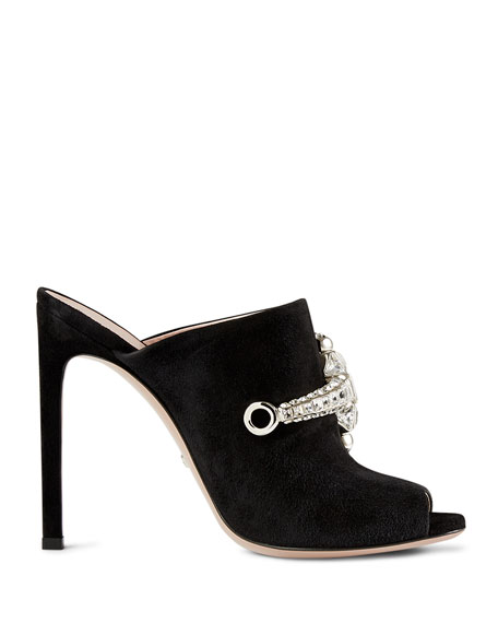 Suede Crystal Horsebit Mule Pump, Black (Nero)