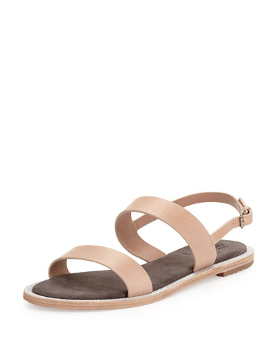 Leather Double-Band Sandal, Taupe