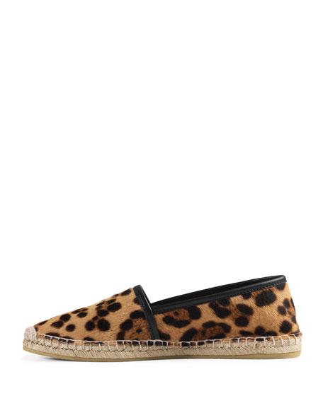 Leopard-Print Calf-Hair Espadrille, Gold/Black