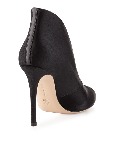 Split-Front Calf-Hair Bootie, Black