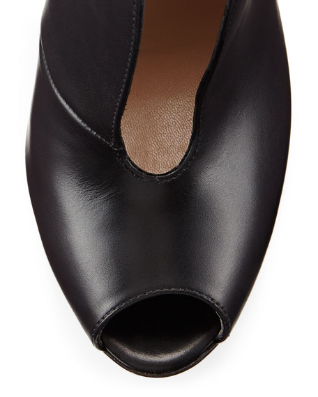 Leather V-Neck Peep-Toe Bootie, Black