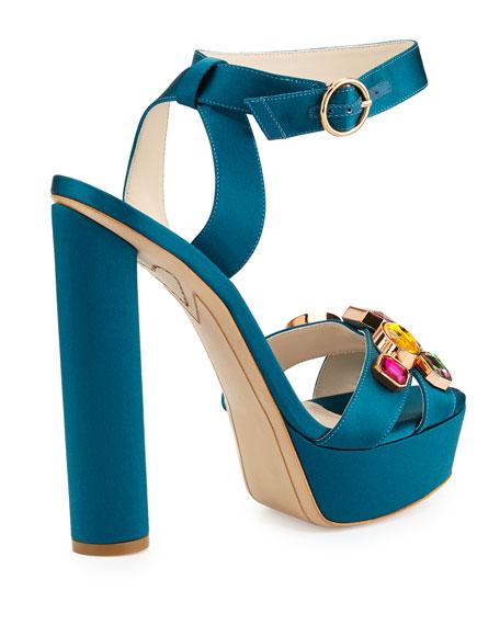 Amanda Gem Platform Sandal, Teal