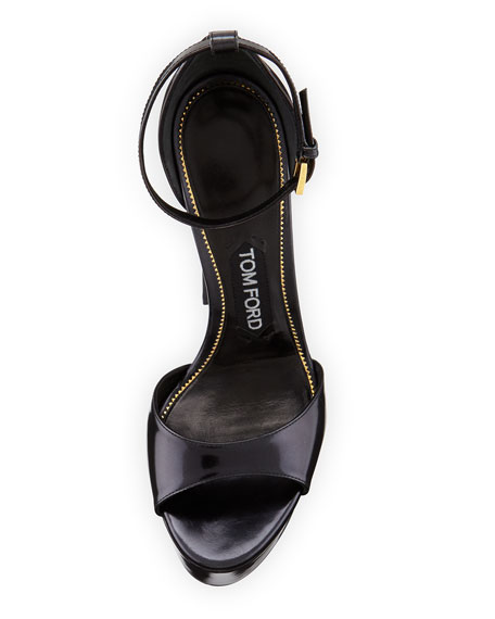 Patent Leather Platform Sandal, Black