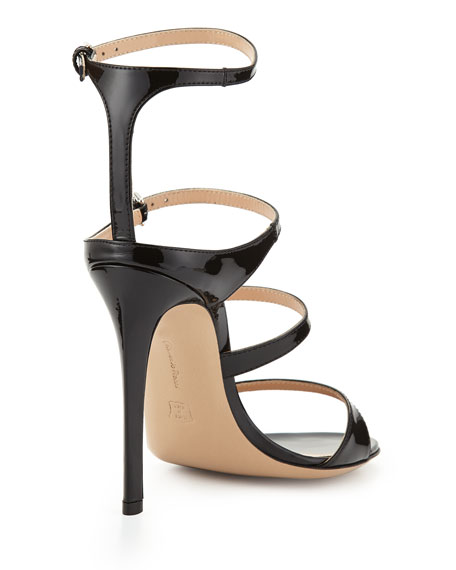 Four-Strap Patent Leather Sandal, Black