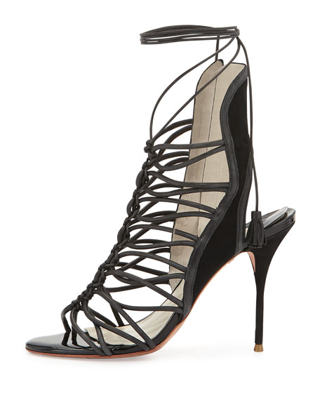 Lacey Lace-Up Gladiator Sandal, Black