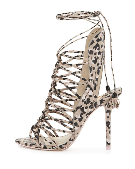 Lacey Lace-Up Gladiator Sandal, Nude/Camo