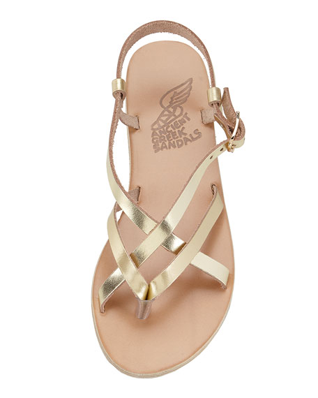 Ancient Greek Sandals Semele Strappy Flat Sandal Gold