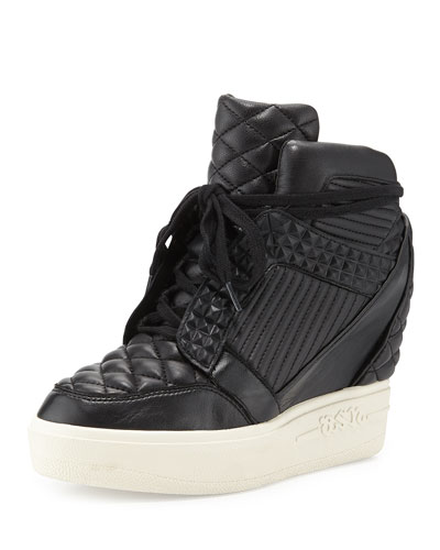 Azimut High-Top Wedge Sneaker, White