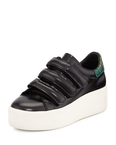 Cool Triple-Strap Platform Sneaker, Black