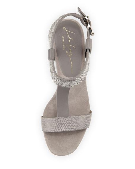Crisscross T-Strap Leather Sandal, Gray