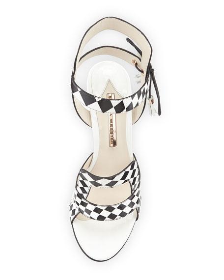 Poppy Checkered Leather Sandal, Black/White