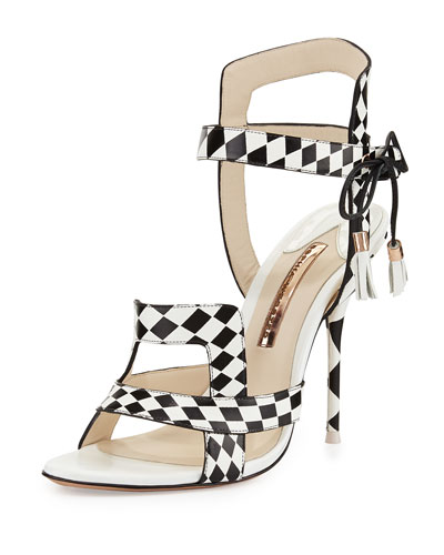 Poppy Checkered Leather Sandal, Black/White