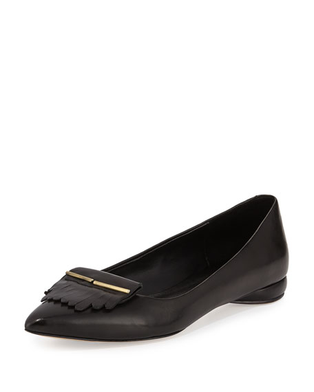 Sade Leather Kiltie Flat, Black