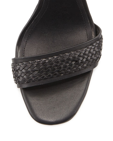Yaya Leather Ankle-Strap Sandal, Black