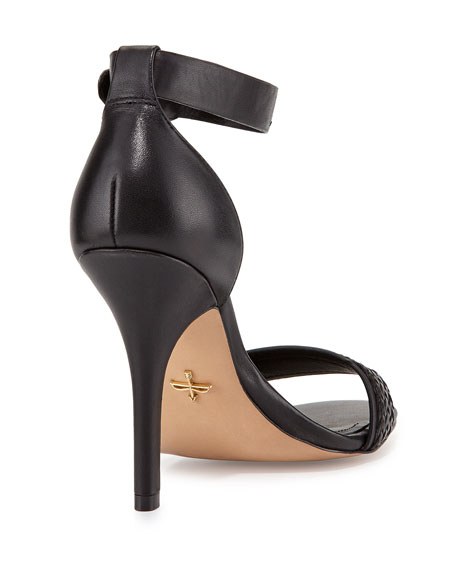 Yaya Leather Ankle-Strap Sandal, Black