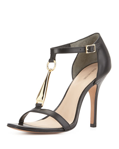 Yolanda Vachetta Leather Sandal, Black