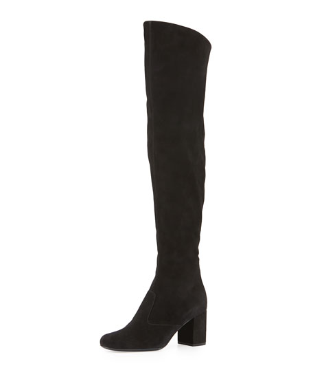 Saint Laurent Babies Suede Over-the-Knee Boot, Black