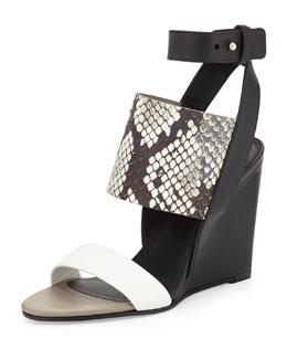 Kyra Ankle-Wrap Sandal, Bone/Black/White