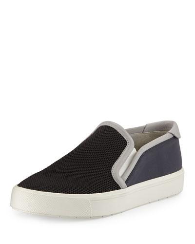Blair-5 Mesh & Leather Skate Sneaker, Black/Bone