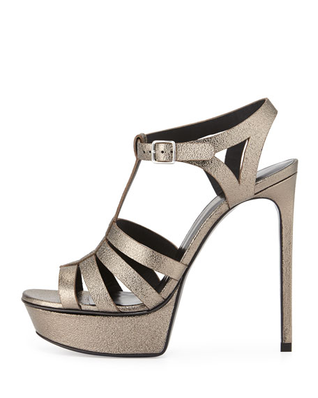 Bianca Metallic T-Strap Sandal, Gray