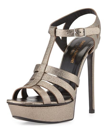 Saint Laurent Bianca Metallic T-Strap Sandal, Gray