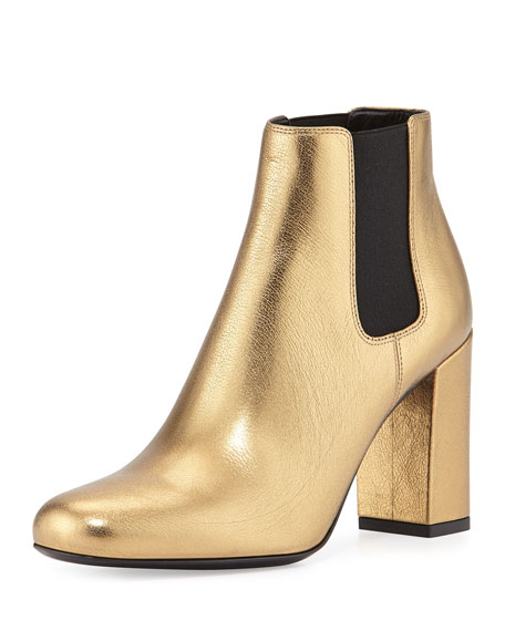 Saint Laurent Babies Metallic Chelsea Boot, Gold