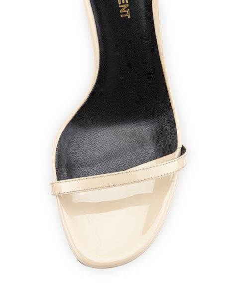 Patent Ankle-Strap Sandal, Nude Powder