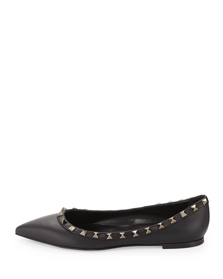 Noir Rockstud Leather Ballet Flat, Black