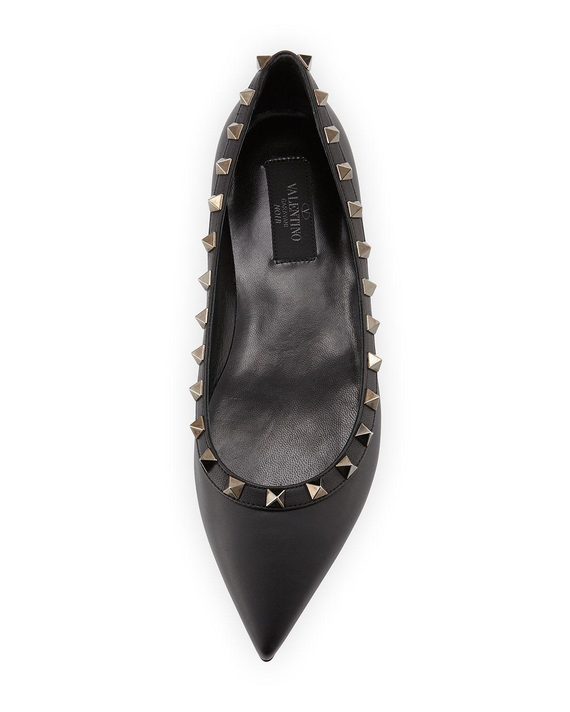 49a625ba1c9c1 Valentino Noir Rockstud Leather Ballet Flat, Black | Neiman Marcus