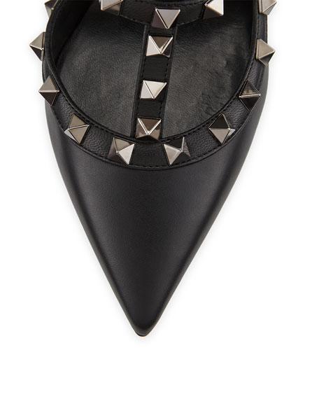 Valentino Garavani Rockstud Leather T-Strap Pump, Black