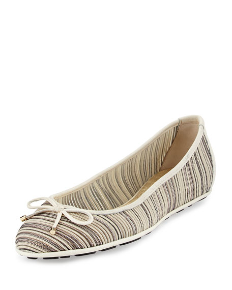 Jimmy Choo Walsh Striped Mesh Ballet Flat, Off