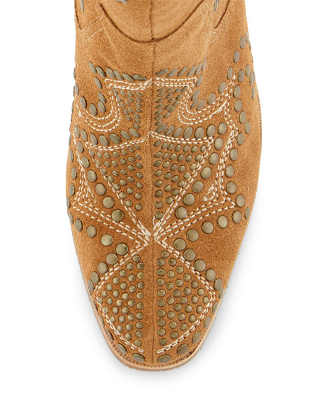 Olivia Embroidered & Studded Boot, Saddle