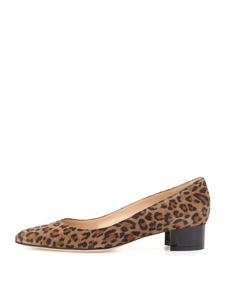 Manolo Blahnik Listony Printed Suede Block-Heel Pump, Leopard