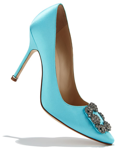 Manolo blahnik hangisi 105mm satin crystal toe pump turquoise for Shoe designer manolo blahnik