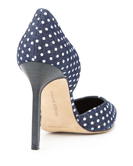 Polka-Dot Denim d'Orsay Pump, Blue/White