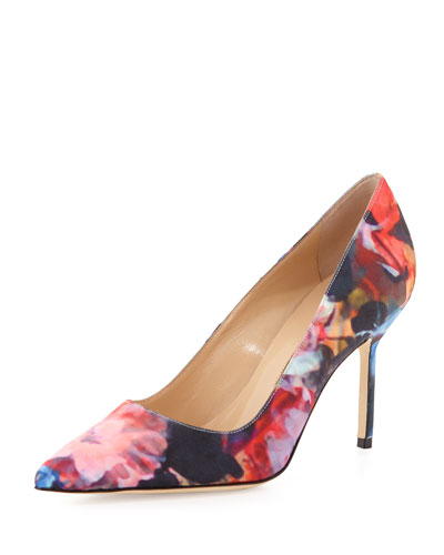 BB Floral-Print Fabric 90mm Pump, Pink/Blue