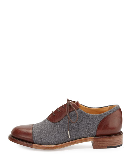 Mr. Hampton Wool Lace-Up Cap-Toe Oxford, Tan